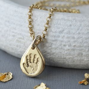 Personalised Solid 9ct Gold Handprint Charm - new in jewellery