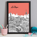 Las Vegas print in colour 5 Sunset, A3 size framed in black