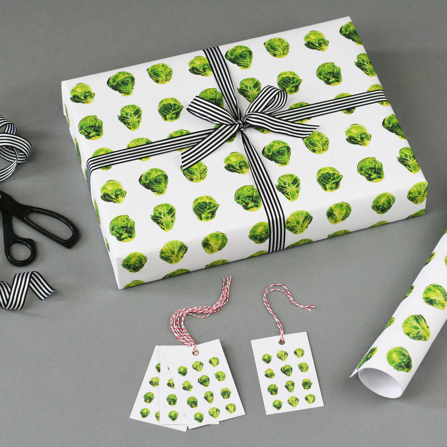 Brussels sprout christmas wrapping paper by nancy betty for Christmas craft wrapping paper