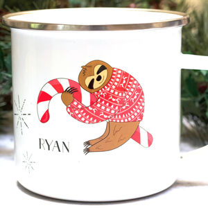 Sloth Christmas Enamel Mug