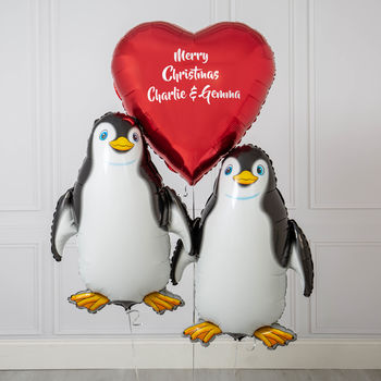 Personalised Christmas Couple Penguin Inflated Balloons