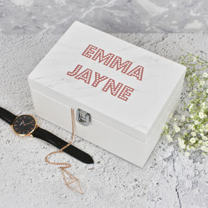 Marble And Rose Gold Themed Jewellery Box - boxes, trunks & crates
