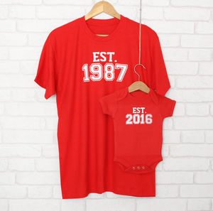 'Est' Father And Child Generations T Shirt Set - babygrows