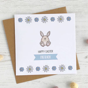 Floral Bunny Personalised Easter Card