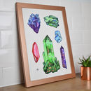 Copper Infused Crystal Art With Copper Frame, Gems