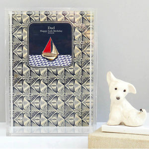 Personalised Birthday Boat Framed Art - mixed media & collage