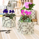 Set Of Three Ceramic Mosaic Tile Planters