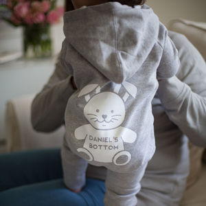 Personalised Baby Hooded Onesie With Bunny Bottom - view all new