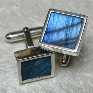 Labradorite Sterling Silver Cufflinks - men's accessories