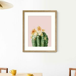 Pink Flowering Cactus Wall Art Print