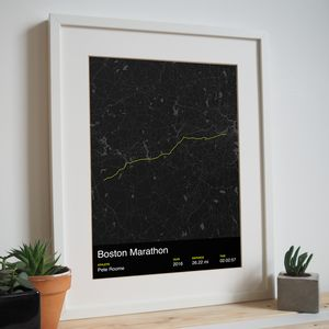 Personalised Boston Marathon Map Print - posters & prints