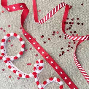 Christmas Candy Stripes, Stars And Pom Pom Ribbon - ribbon & wrap