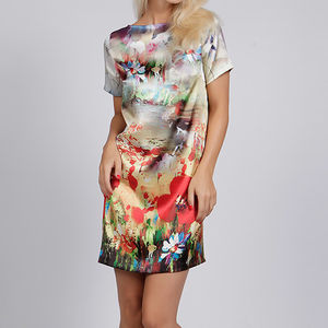 Maria Poppy Floral Print Silk Satin Dress - women's fashion
