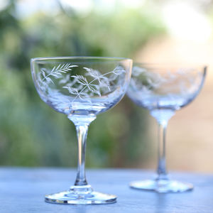Set Of Six Fern Design Champagne Saucers - lust list