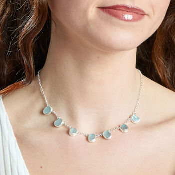Aquamarine Gemstone Ladies Silver Necklace