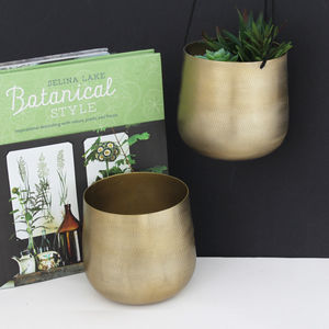 Brass Bowl Planter - dining room