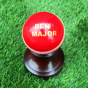 Personalised Cricket Ball With Wooden Stand
