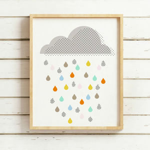 Multi Coloured Rain Cloud Print - pictures & prints for children