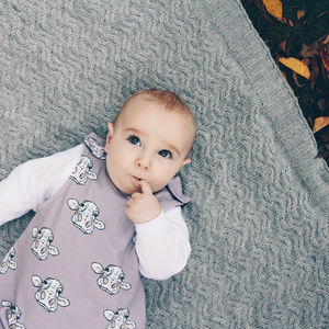 Organic Baby Dungarees In Grey Cow Print Design - clothing