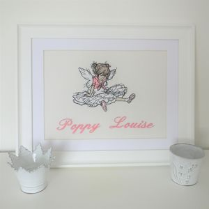 Personalised Embroidered Picture Of Seated Dancer