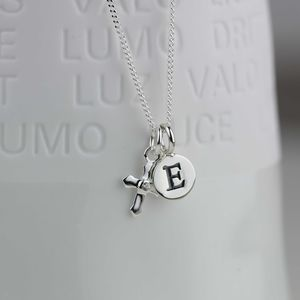 Personalised Silver Christening Cross Necklace - children's jewellery
