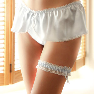 Aurelie Wedding Knickers And Garter Set - lingerie & nightwear