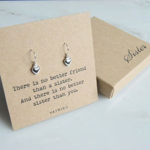 Sister Gift Heart Drop Earrings - gifts for sisters