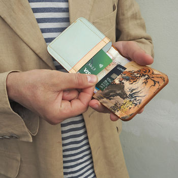 Personalised Leather Billfold Wallet Tiger Print