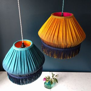 Teal And Mustard Silk Lampshades