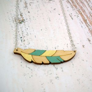 Wooden Feather Necklace - necklaces & pendants