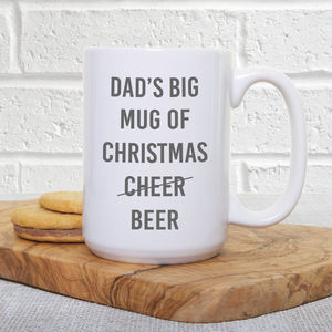 'Dad's Big Christmas Beer' Extra Large Mug - gifts for men