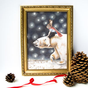 Polar Bear And Rabbit Starry Night Print - christmas home