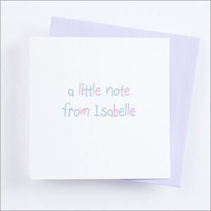 Single Or Pack Of Personalised 'Little Note' Cards D4