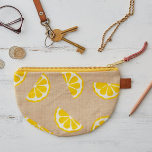 Lemons Fruit Half Moon Linen Purse - make-up bags