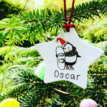 Snowboarding Penguin Christmas Decoration