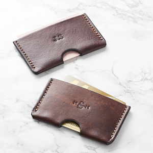 Personalised Slim Leather Card Holder - for him
