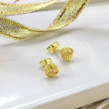 Gold Plated Sterling Silver Knot Earrings
