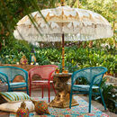 Cream And Gold Hand Painted Garden Parasol