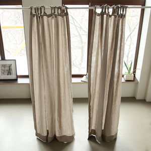 Linen Stone Washed Curtains With Ties - bathroom