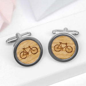 Wooden Bicycle Cufflinks - cycling