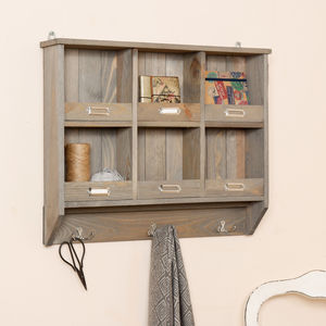 Maison De Cru Wooden Wall Organiser With Hooks