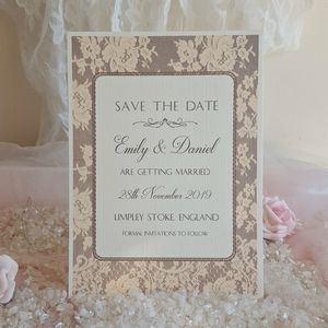 Brown Vintage Wedding Lace Save The Date Cards - summer sale