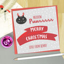 Merry Christmas From The Cat Personalised Card