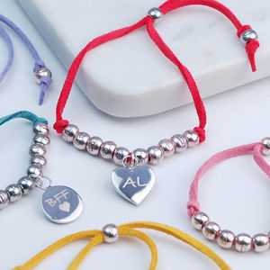Personalised Charm Suede Friendship Bracelet - women's jewellery