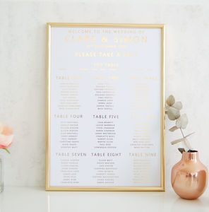 White And Gold Wedding Seating Plan Table Plan - table plans