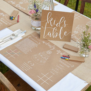 Kids Table Activity Set Wedding Tables - natural artisan styling