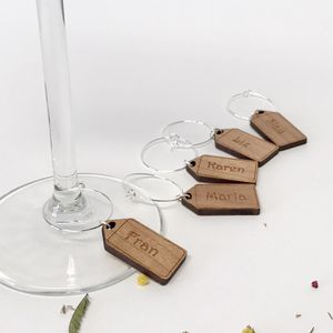 Five Personalised Christmas Wine Glass Charms - glass charms