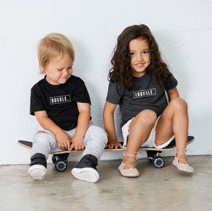 'Double' 'Trouble' Unisex Sibling T Shirts - new in baby & child