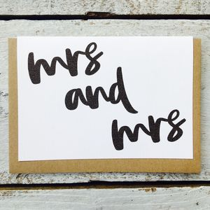 'Mrs And Mrs' Mono Flow Card - engagement cards