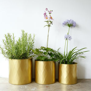 Set Of Three Large Metal Planter Pots - gifts for her